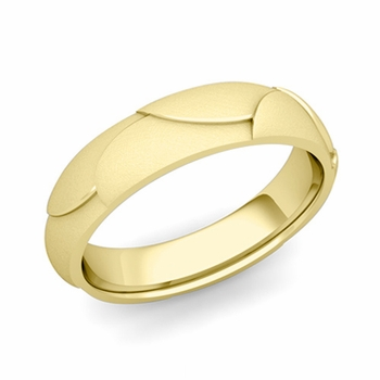 Harmony Comfort Fit Wedding Band in 18k Gold Mixed Brushed Finish Ring, 5mm