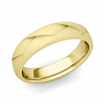 Love Folding Brushed Finish Wedding Ring in 18k gold Comfort Fit Band, 5mm