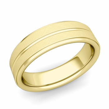 Comfort Fit Park Avenue Wedding Band in 18k Gold Brushed Finish Ring, 6mm