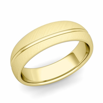 Wave Comfort Fit Wedding Band in 18k Gold Mixed Brushed Finish Ring, 6mm