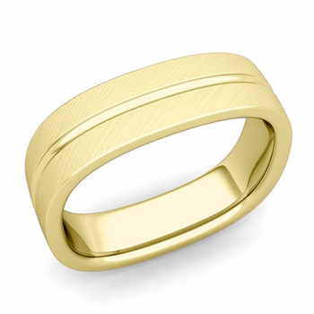 Square Wedding Ring in 18k Gold Brushed Finish Comfort Fit Wedding Band, 6mm