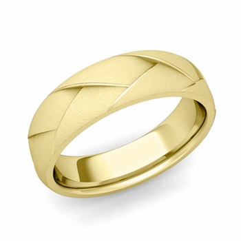 Love Folding Brushed Finish Wedding Ring in 18k gold Comfort Fit Band, 6mm