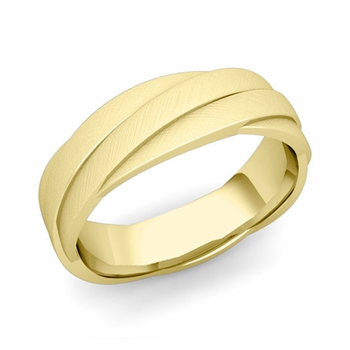 Past Present Future Wedding Band in 18k Gold Mixed Brushed Finish Ring, 6mm