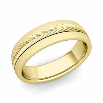 Garland Comfort Fit Wedding Band in 18k Gold Mixed Brushed Finish Ring, 6mm