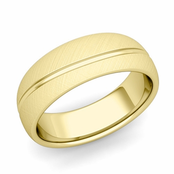 Wave Comfort Fit Wedding Band in 18k Gold Mixed Brushed Finish Ring, 7mm