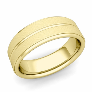 Comfort Fit Park Avenue Wedding Band in 18k Gold Brushed Finish Ring, 7mm