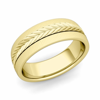 Garland Comfort Fit Wedding Band in 18k Gold Mixed Brushed Finish Ring, 7mm