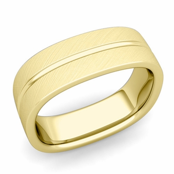 Square Wedding Ring in 18k Gold Brushed Finish Comfort Fit Wedding Band, 7mm