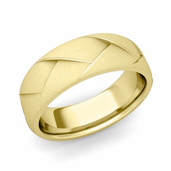 Love Folding Brushed Finish Wedding Ring in 18k gold Comfort Fit Band, 7mm