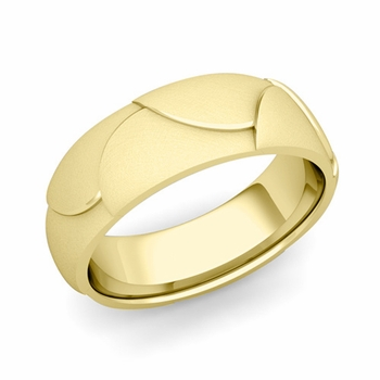 Harmony Comfort Fit Wedding Band in 18k Gold Mixed Brushed Finish Ring, 7mm