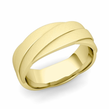 Past Present Future Wedding Band in 18k Gold Mixed Brushed Finish Ring, 7mm