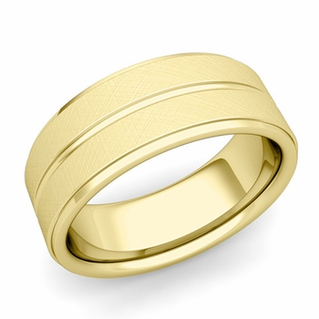 Comfort Fit Park Avenue Wedding Band in 18k Gold Brushed Finish Ring, 8mm
