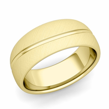 Wave Comfort Fit Wedding Band in 18k Gold Mixed Brushed Finish Ring, 8mm