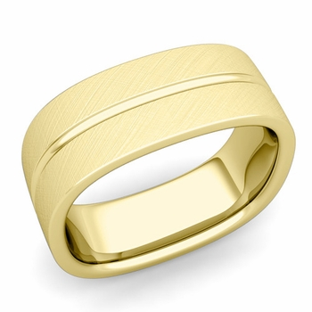 Square Wedding Ring in 18k Gold Brushed Finish Comfort Fit Wedding Band, 8mm