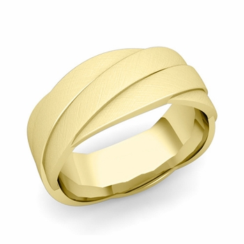Past Present Future Wedding Band in 18k Gold Mixed Brushed Finish Ring, 8mm