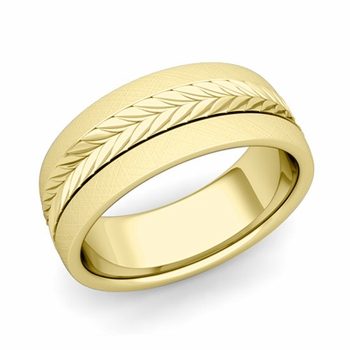 Garland Comfort Fit Wedding Band in 18k Gold Mixed Brushed Finish Ring, 8mm