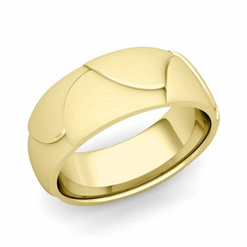 Harmony Comfort Fit Wedding Band in 18k Gold Mixed Brushed Finish Ring, 8mm