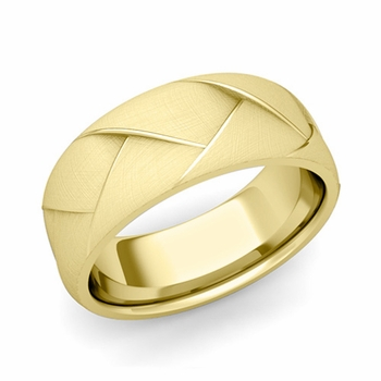 Love Folding Brushed Finish Wedding Ring in 18k gold Comfort Fit Band, 8mm