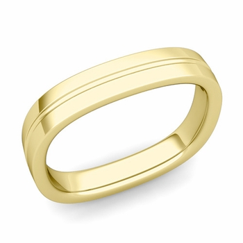 Square Wedding Ring in 18k Gold Shiny Finish Comfort Fit Wedding Band, 4mm