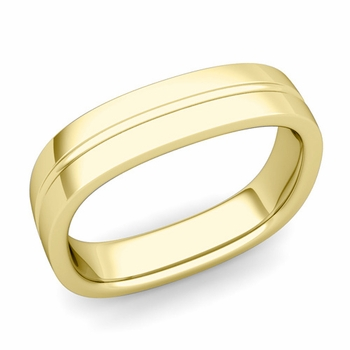 Square Wedding Ring in 18k Gold Shiny Finish Comfort Fit Wedding Band, 5mm