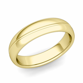 Wave Comfort Fit Wedding Band in 18k Gold Polished Finish Ring, 5mm