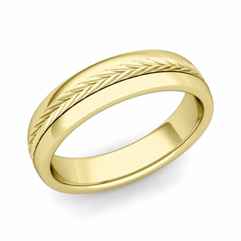 Garland Comfort Fit Wedding Band in 18k Gold Polished Finish Ring, 5mm