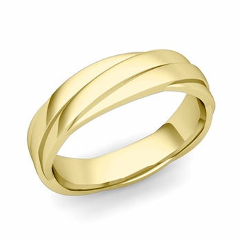 Past Present Future Wedding Band in 18k Gold Polished Finish Ring, 5mm