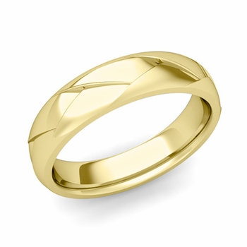Love Folding Shiny Finish Wedding Ring in 18k gold Comfort Fit Band, 5mm