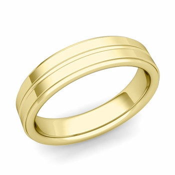 Comfort Fit Park Avenue Wedding Band in 18k Gold Polished Finish Ring, 5mm