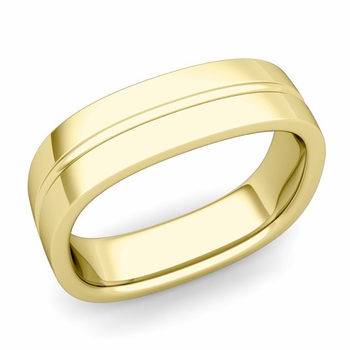 Square Wedding Ring in 18k Gold Shiny Finish Comfort Fit Wedding Band, 6mm