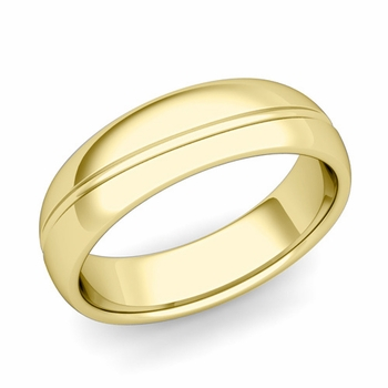 Wave Comfort Fit Wedding Band in 18k Gold Polished Finish Ring, 6mm