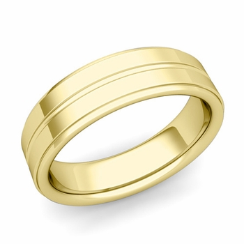 Comfort Fit Park Avenue Wedding Band in 18k Gold Polished Finish Ring, 6mm