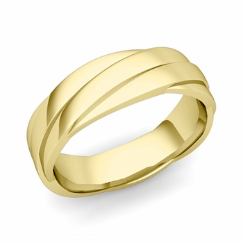 Past Present Future Wedding Band in 18k Gold Polished Finish Ring, 6mm