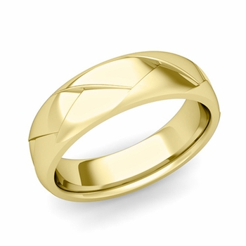 Love Folding Shiny Finish Wedding Ring in 18k gold Comfort Fit Band, 6mm