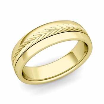 Garland Comfort Fit Wedding Band in 18k Gold Polished Finish Ring, 6mm