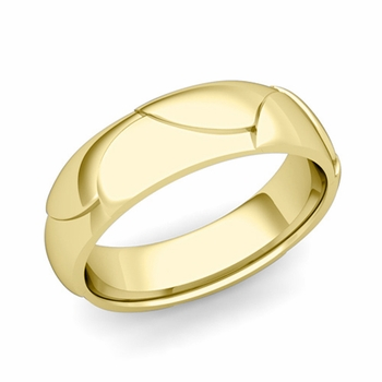 Harmony Comfort Fit Wedding Band in 18k Gold Polished Finish Ring, 6mm