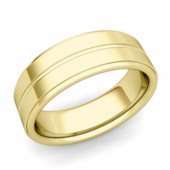 Comfort Fit Park Avenue Wedding Band in 18k Gold Polished Finish Ring, 7mm