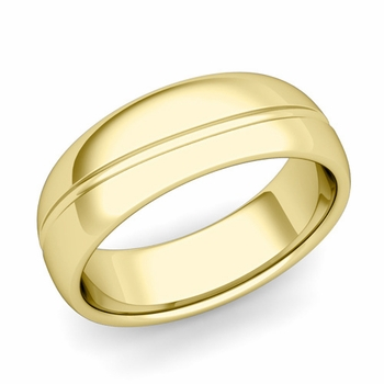 Wave Comfort Fit Wedding Band in 18k Gold Polished Finish Ring, 7mm