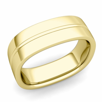 Square Wedding Ring in 18k Gold Shiny Finish Comfort Fit Wedding Band, 7mm