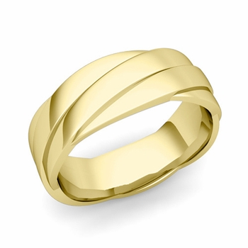 Past Present Future Wedding Band in 18k Gold Polished Finish Ring, 7mm