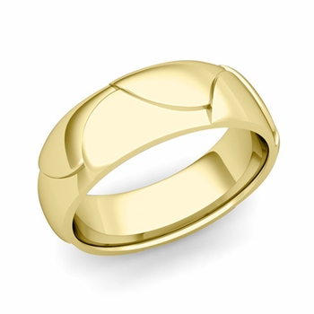 Harmony Comfort Fit Wedding Band in 18k Gold Polished Finish Ring, 7mm