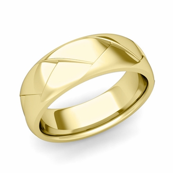 Love Folding Shiny Finish Wedding Ring in 18k gold Comfort Fit Band, 7mm