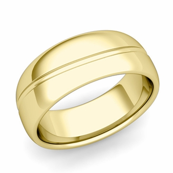 Wave Comfort Fit Wedding Band in 18k Gold Polished Finish Ring, 8mm