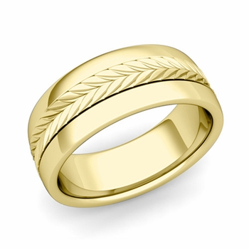 Garland Comfort Fit Wedding Band in 18k Gold Polished Finish Ring, 8mm