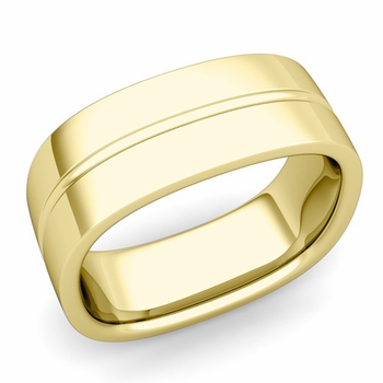 Square Wedding Ring in 18k Gold Shiny Finish Comfort Fit Wedding Band, 8mm