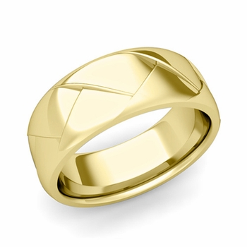 Love Folding Shiny Finish Wedding Ring in 18k gold Comfort Fit Band, 8mm