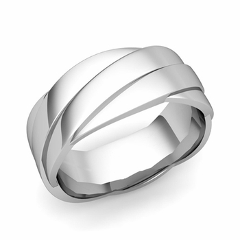Past Present Future Wedding Band in 18k Gold Polished Finish Ring, 8mm