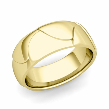 Harmony Comfort Fit Wedding Band in 18k Gold Polished Finish Ring, 8mm
