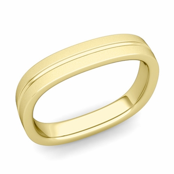 Square Wedding Ring in 18k Gold Satin Finish Comfort Fit Wedding Band, 4mm