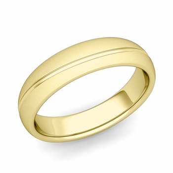 Wave Comfort Fit Wedding Band in 18k Gold Satin Matte Finish Ring, 5mm